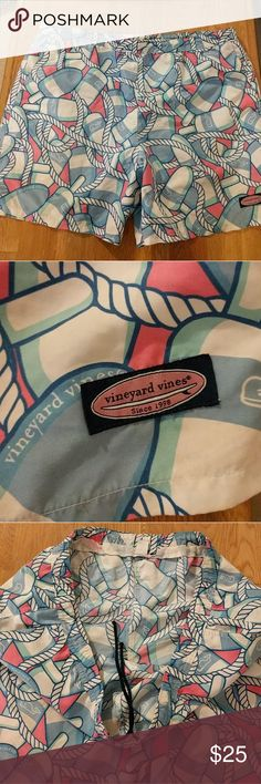 Vineyard Vines swim trunks Vineyard Vines swim trunks, suit, board shorts size extra large. The inner lining was cut out, so that's why the price is lower. I think someone was using it for shorts.  Whales buoys buoy rope. Small dot on back, see pic. Vineyard Vines Swim Swim Trunks