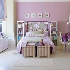 Teen bedroom. kind of remade it though my dd has a window above her bed and 2 shelves flanking the window.