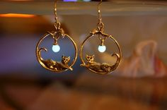 Cat and mouse Earrings GLOW in the DARK Sterling Silver