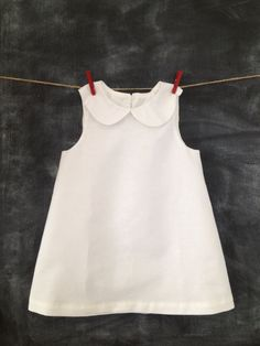 White 100% Linen Toddler Dress, A-Line Style with Peter Pan Collar, Fully Lined in 100% Lightweight Cotton, Button Closure,  Sizes 12 Months to Toddler Size 4T, Perfect for Blessing Day, Baptism, Wedding, or any Other Occasion!BabySuzannaJohanna, $48.00