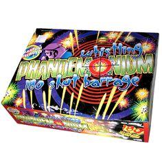 Phantom Fireworks® Whistling Phandemonium, 180-Shot: The firing pattern of the Whistling Phandemonium is intense as the shots shriek and move rapidly back and forth across the sky.