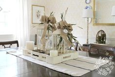 DIY:: Beautiful Burlap Bows Table Top Decor or Dining Centerpiece ! Tutorial by N Sutton Place Burlap Crafts, Burlap Bows, Burlap Projects, Dining Centerpiece, Centerpiece Ideas, Seasonal Decor, Holiday Decor, Holiday Fun, Sutton Place