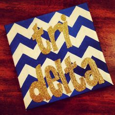 Navy and White chevron tri delta sorority canvas with gold letters for big little week