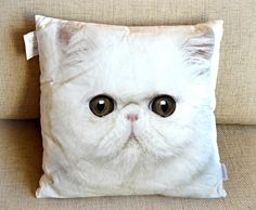 White Cat Pillow Cushion Home Decor Printed Cat pillow Gift for Cat Lover Decorative Pillow