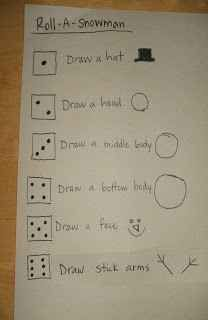 Snowman Draw Dice Game. This game and more cool kids drawing game ideas.