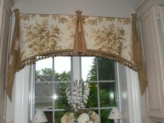 French Country Window Valances- Custom Arch cut Jabot accents N Relaxed Toile Balloon Shade - swiss.