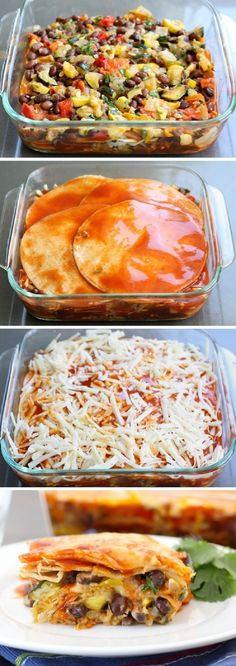 Roasted Vegetable Enchiladas - SOOO easy to make vegan. Omit any meats, add fave meat analogs or just beans, replace any fats w/fave vegan oils, etc.  Use daiya or a nooch-cheese - whatever you love.  Gonna do this this weekend!