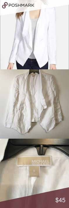 Michel Kors Drape Collar Linen Jacket Sorry for the wrinkles but it's 100% linen. In great condition, even has slit pockets at the sides. *Sleeves have been hemmed as shown.* So wear as is or you could even make it into a vest. MICHAEL Michael Kors Jackets & Coats Blazers