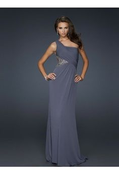 Sheath/Column One Shoulder Sleeveless Chiffon Prom Dresses/Evening Dresses With Beaded #FK778