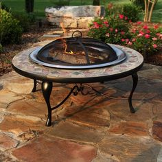 Have to have it. Slate Mosaic Fire Pit with Copper Accents- Stainless Steel Bowl $269.98