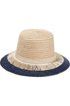 Eugenia Kim - Stevie grosgrain-trimmed fringed woven straw sunhat 87620265677f