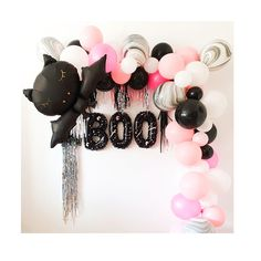 Halloween Balloons, Pink Halloween, Halloween Birthday, Halloween Party Decor, Spooky Halloween, Halloween Themes, Natalie James, Helloween Party, Nightmare Before Christmas Tattoo
