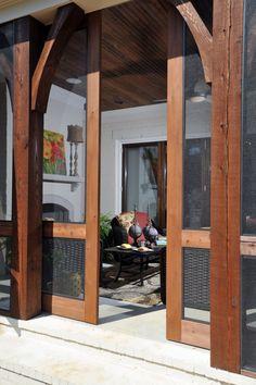 Home - Porches, Decks and Patios - sliding screen doors (beautiful) Outdoor Rooms, Outdoor Living, Outdoor Decor, Indoor Outdoor, Outdoor Patios, Outdoor Kitchens, Outdoor Sheds, Sliding Screen Doors, Custom Screen Doors