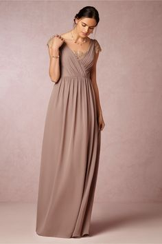 Love this in dusty mauve or blush!  Evangeline Dress in Bridal Party & Guests Bridesmaids at BHLDN