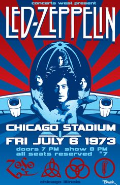 Details about Led Zeppelin 1973 Chicago Stadium Concert Poster Led Zeppelin Poster, Led Zeppelin Concert, Led Zeppelin Iii, Pop Rock, Rock N Roll, Rock And Roll Bands, Tour Posters, Band Posters, Concert Rock