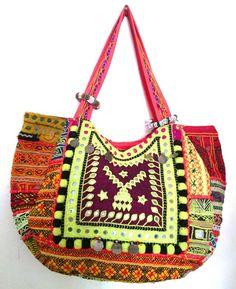 Vintage Boho Banjara Bag Gypsy Tribal Ethnic handmade multi color cotton tote
