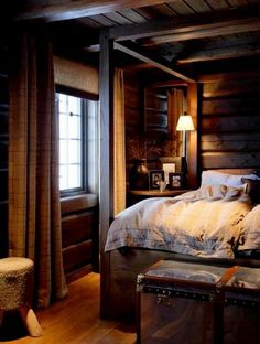 cozy cabin bedroom - A Interior Design Airy Bedroom, Wood Bedroom, Dream Bedroom, Home Decor Bedroom, Bedroom Ideas, Master Bedroom, Peaceful Bedroom, Comfy Bedroom, Bedroom Retreat
