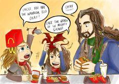 Uncle Thorin!! @RCArmitage #TheHobbit #BOFA #ThorinOakenshield #Fili #Kili #RichardArmitage #AidanTurner #Deanogorman