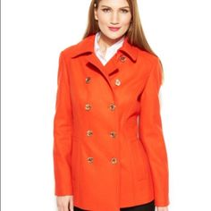 NEW Michael Kors Peacoat This coat is a stunning very RARE mandarin color, double breasted with gold buttons. It's 62% wool and is fully lined. You will love this beautiful Michael Kors classic. Point collar, front button closure, slit pockets at hips, coat hits at upper thigh. Chest: 20 Sleeve: 29 Length: 30.   Sorry no trades Michael Kors Jackets & Coats Pea Coats