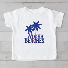 Aloha Beaches with Palms Graphic T-Shirt Aloha Beaches, 4th Of July Celebration, Tee Tree, Little Boy Outfits, 6 Years, Graphic Tees, Palms, Fabric, Mens Tops