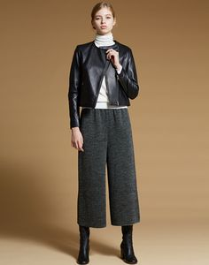 LE CIEL BLEU ミニマルライダース/ウールガウチョパンツ/Strech Leather Short Boots