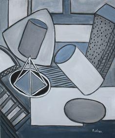 Lynda Arthur-Blue/Grey. An acrylic on canvas painting