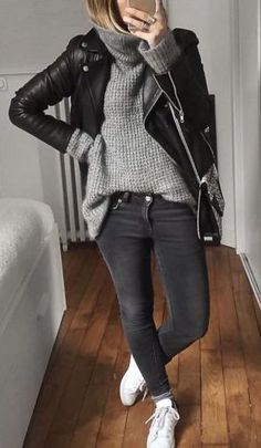 black jacket, gray sweater, gray pants, white sneakers