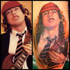 My (@Amanda Anne) new tattoo! AC/DC's Angus Young portrait  Done by Louis Barak @ Jade Dragon Tattoo in Chicago, IL