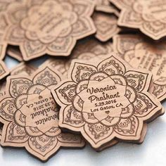 10+ Lotus Save the Date Magnets - Laser cut and Etched on Wood