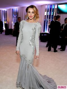Miley Cyrus in silver blue gown