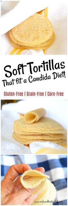 A soft and chewy grain free tortilla that looks, feels and taste like a traditional flour tortilla! These Nut Free Paleo Tortillas are going to be your new go-to wrap! They also fit a gluten-free, grain-free, paleo and candida diet! Gluten Free Grains, Gluten Free Snacks, Gluten Free Baking, Gluten Free Recipes, Anti Candida Diet, Candida Diet Recipes, Mexican Food Recipes, Real Food Recipes, Baking Recipes