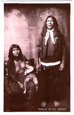 MOHAVE Family, early 1905-1910. I think the man is  Bluebird, posing with his wife & child. Real Photo Postcard edited c.1915-1930.