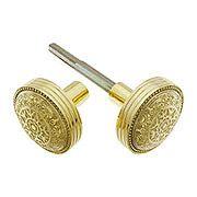 Pair of Windsor Drum Style Door Knobs In Un-lacquered Brass (item #R-01DE-104-UL)