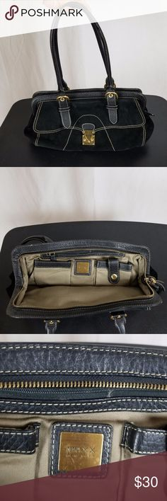 MAXX NEW YORK BLACK SUEDE AND LEATHER HANDBAG Beautiful Maxx New York suede and leather handbag. Beautiful brown lining. Goldtone hardware. Beautiful leather and suede combination. Very classy and elegant bag.   This bag is gently used but in excellent condition with very minimal wear showing. Maxx New York Bags Satchels