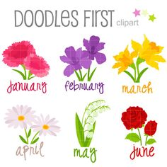 This clipart set includes the 6 x Flower of the Month 1 x January-Carnation 1 x February-Iris 1 x March-Daffodil 1 x April-Daisy 1 x May-Lily of the Valley 1 x June-Rose Each clipart illustration is included separately as a high resolution PNG file with a transparent background and also as a JPG with a white background Each object is provided at a sizes of 5.5 Inches on its longest side. The PNG makes it versatile to scale for any project. No watermarks will appear on purchas...