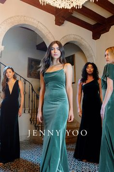 Introducing Jenny Yoo's new velvet bridesmaid dress color – Dark Eucalyptus! This new shade of green pairs perfectly with Emerald for a rich and vibrant bridal party look. Shown in the new Spring 2021 style Sammi. With her delicate spaghetti straps, gentle cowl neckline, and elongating empire waist seam, this style is incredibly chic and versatile for any wedding or event. Modern Bridesmaid Dresses, Bridesmaid Dress Colors, Cute Prom Dresses, Pretty Dresses, Beautiful Dresses, Bridesmaids, Wedding Dress Shopping, Wedding Party Dresses, Italian Women