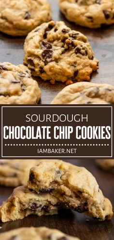This recipe is a delicious way to use up your sourdough starter discard! Sourdough Chocolate Chip Cookies are easy to make with no electric mixer needed. Try baking them in 2 ways to enjoy them soft and cake-like or chewier and flatter! Pin this for later! Easy No Bake Desserts, Homemade Desserts, Easy Desserts, Dessert Recipes, Pie Recipes, Dessert Ideas, Holiday Cookie Recipes, Easy Cookie Recipes, Sweet Recipes