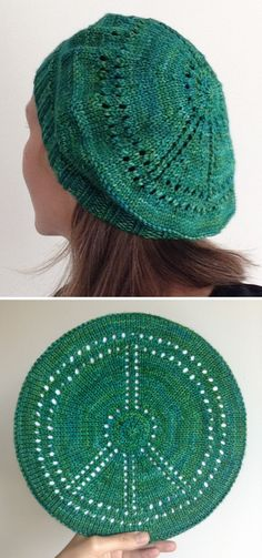 Free Knitting Pattern for Peace Beret - The top of this tam is a peace symbol worked in eyelets and decreases. 4 sizes:XS, S, M, L. Designed byChristin Kimsey