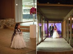 Michelle and Angel were married in the evening at the Handlery Hotel in San Diego, CA under a crystal chandelier and stringed cafe lights. Photo by: Studio Sequoia #purplewedding #handleryhotel #nightwedding #twilightwedding #eveningweddingideas #nightweddingideas