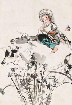 Cheng Shifa(b. 1921-2007) Girl On Ox Hanging scroll;ink and colour on paper. 程十髮(b. 1921-2007) 少女與牛 立軸 設色紙本  72 x 49 cm. 28 3/8 x 19 1/4 in. 約3.2平尺  鈐印:十發 題識:十發。
