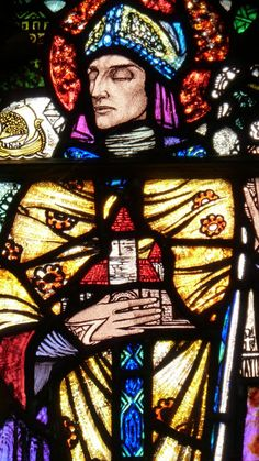 Detail from the window depicting St Tigernach, stained glass from  St Joseph's, Carrickmacross, County Monaghan, Ireland, 1928 – Harry Clarke  Photo via http://gooseberriesandwalnuts.blogspot.com