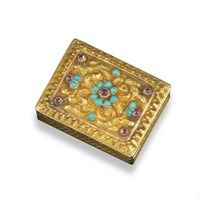 A Regency ruby and turquoise mounted gold vinaigrette - Lot 1766 - Jewellery
