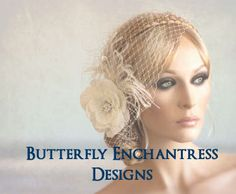 Flower Bridal Veil Set, Wedding Feather Flower, Bridal Hair Flower - Starfire Gwyneth Feather Flower Clip and Detachable Birdcage Veil Set