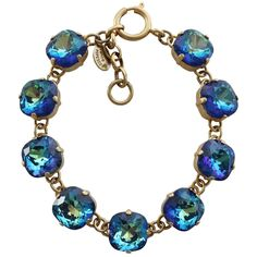 "Catherine Popesco 14k Gold Plated Crystal Round Bracelet, 7-8"" 1696G Ultra Sky"