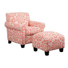 Portfolio Mira Orange Coral Medallion Arm Chair and Ottoman | Overstock.com