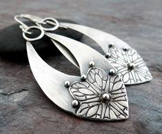 Beaded Earrings, Hoop Earrings, Handmade Jewelry, Handmade Items, Floral Design, Artisan, Metal Clay Jewelry, Boho, Sterling Silver