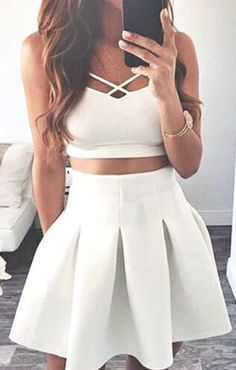#summer #outfits / white flared dress