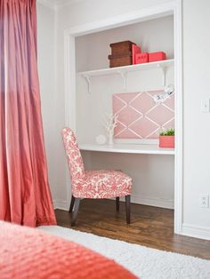 I really like the white walls, white open closet, and white carpet with the one color for the long curtains, bed sheets/comforter, chair and the items in the closet.