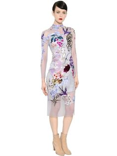 TEMPERLEY LONDON - NAUTICAL TATTOOS HAND-EMBROIDERED DRESS - GREY/MULTI