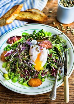 Wild Greens : Spring Greens -- No sardines, but sounds delicious and a great way to try soft boiled eggs